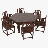 Oriental Dining Table & Chairs Set