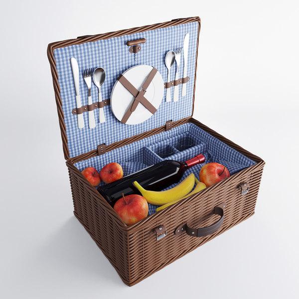 3d model wicker basket accessories picnic