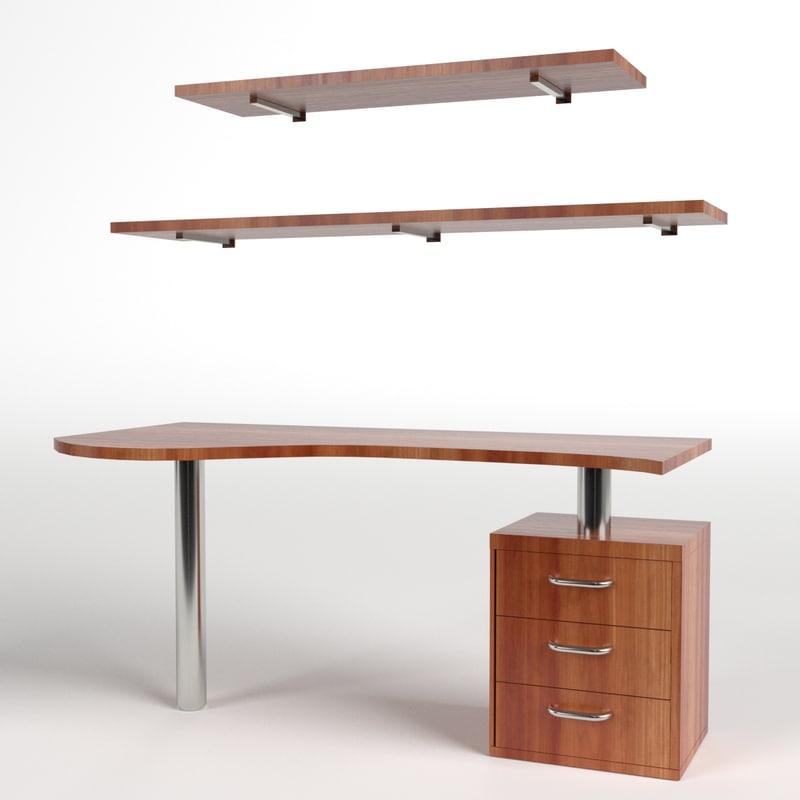 desk drawers shelf 1 3d model