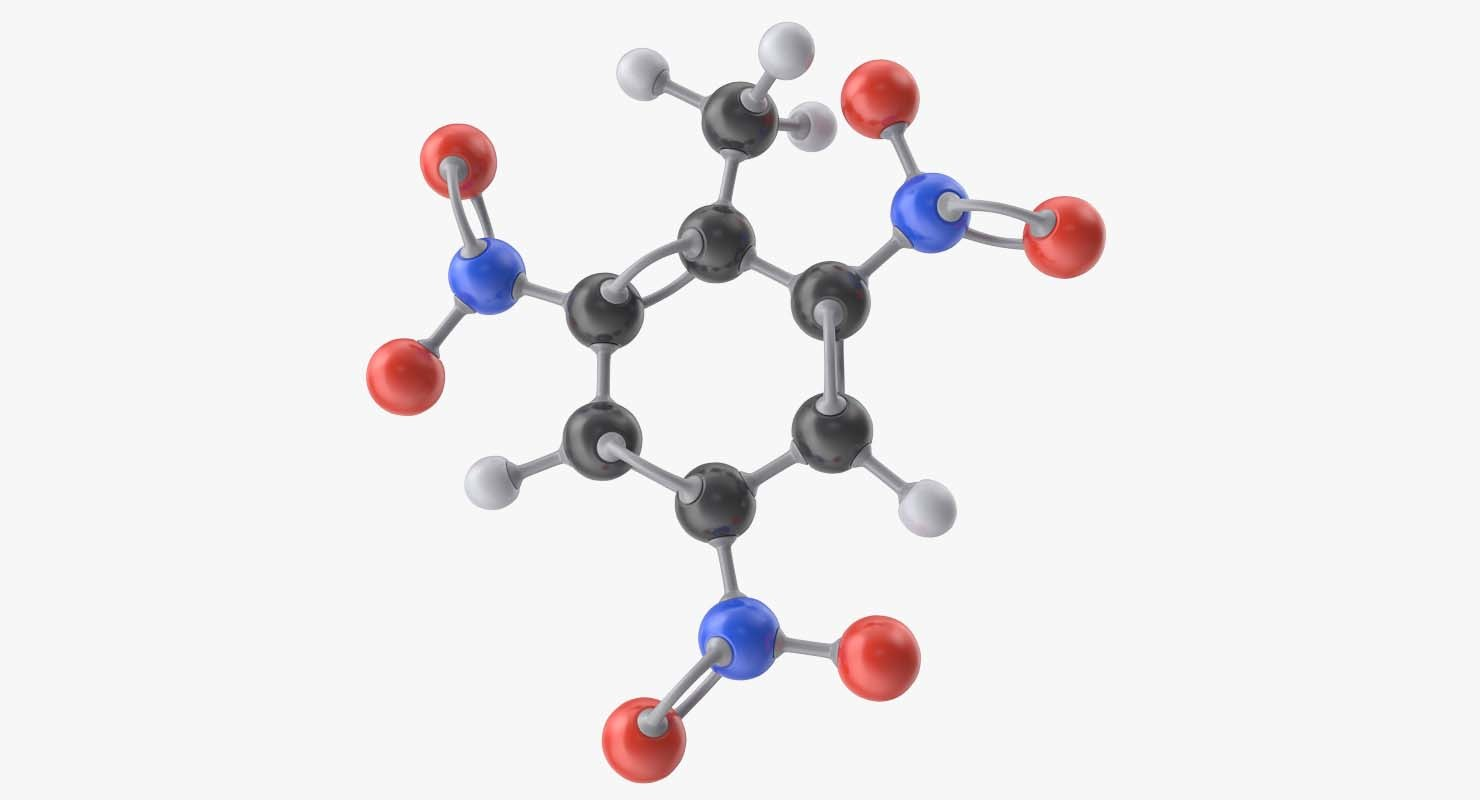 trinitrotoluene molecule tnt 3d 3ds