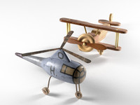 Helicopter and Wooden Bi Plane Airplane Toys