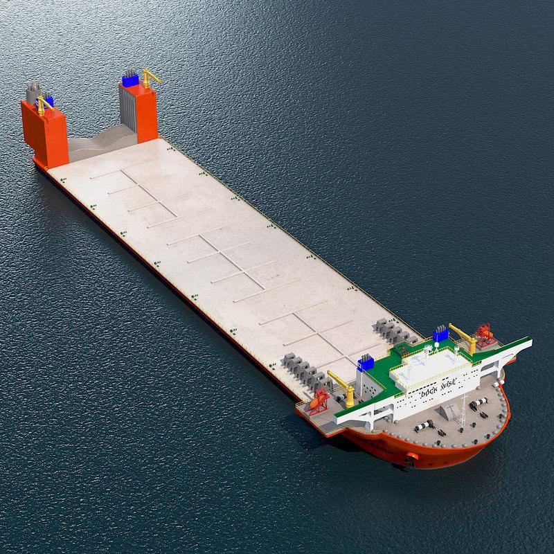 3d deck cargo ship blue