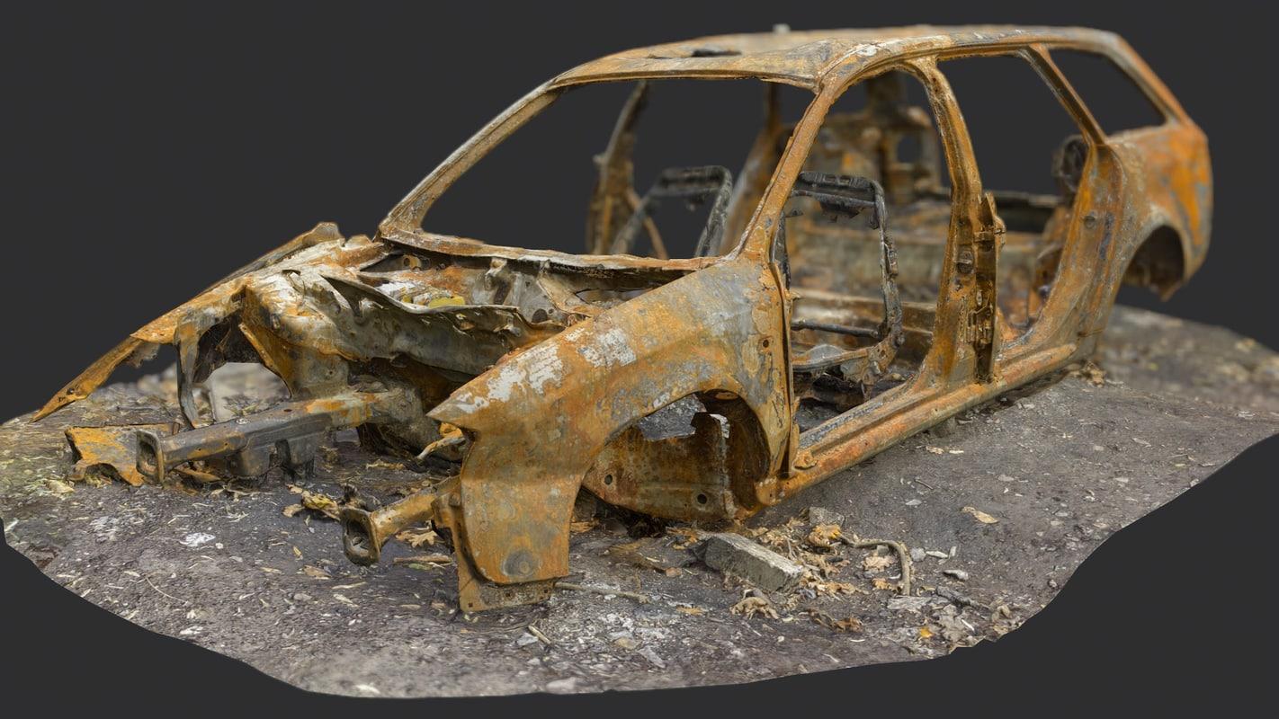 3d model old burnt car
