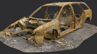 3d model old burnt car