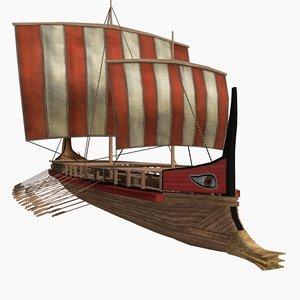 historical greek trireme 3d max