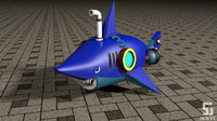 3d model modeled shark submerge 3
