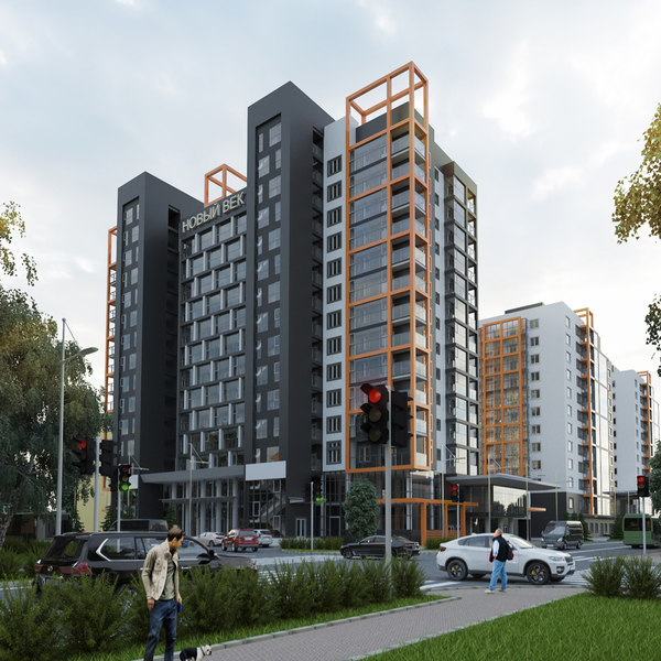 3d multi-storey residential building high-rise model