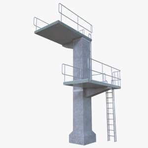 diving tower 3d obj