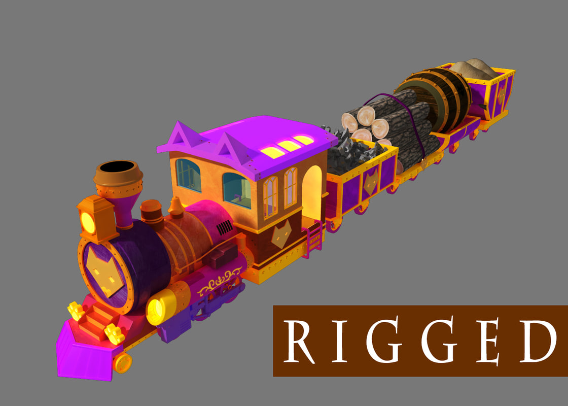 3d model of cartoon train rigged