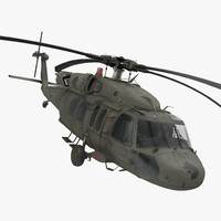Sikorsky UH-60 Black Hawk US Military Utility Helicopter Rigged