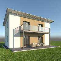 3d model modern single family home