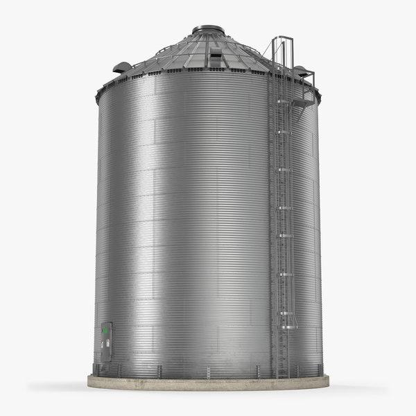 farm grain storage bin 3d model