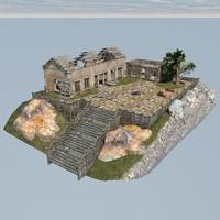 3d ruined house scene
