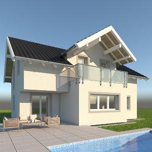 3d modern single family home model