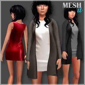 cardigan dress set 3d model