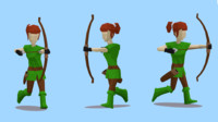 Lowpoly medieval female archer