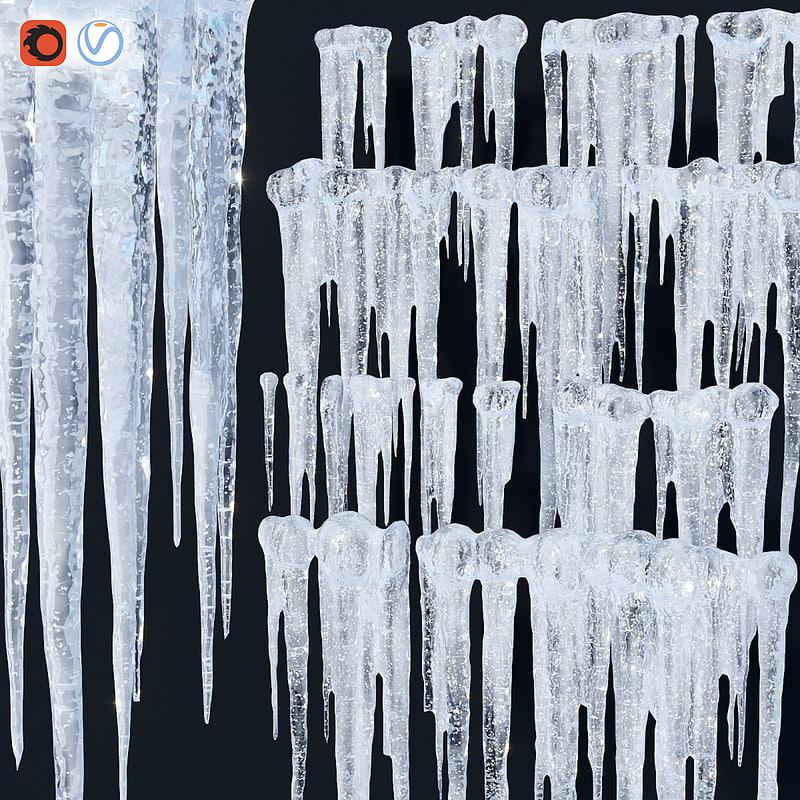 3d model icicle set