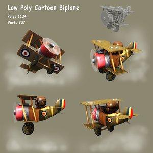 3d ww1 cartoon biplane model