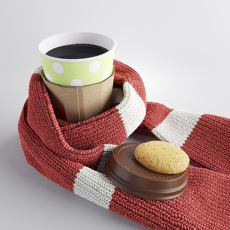 3d coffee scarf