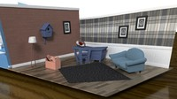 fbx midpoly cartoon living room