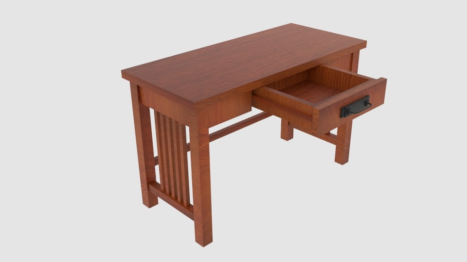 mission-style ash oak desk 3ds