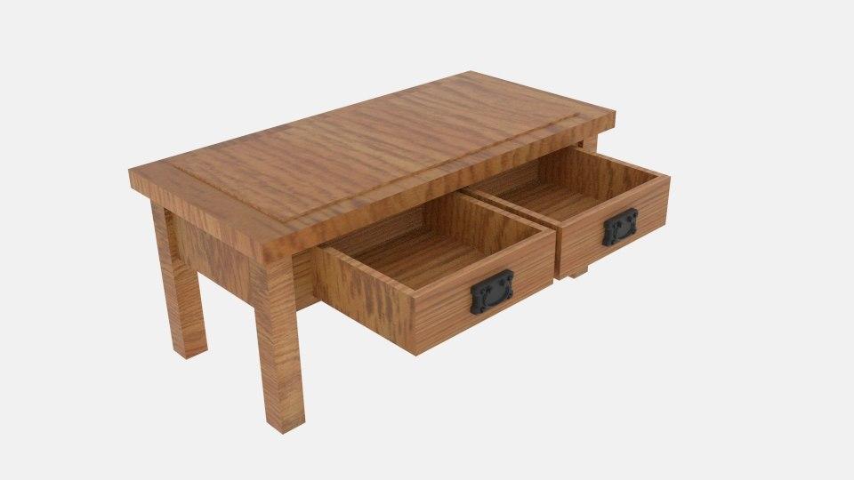 3d rustic oak 4 drawer