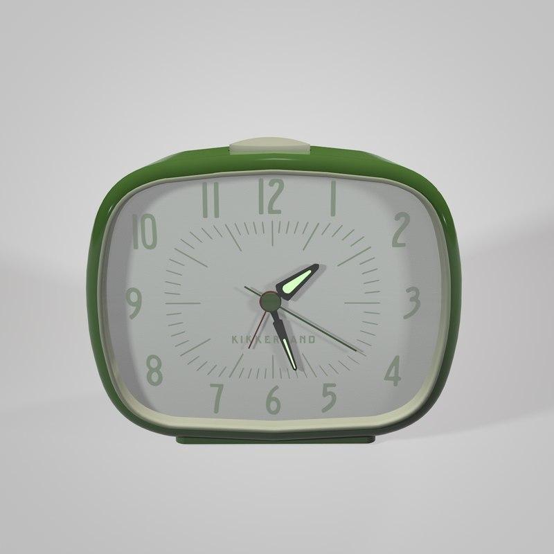 kikkerland retro alarm clock 3d model