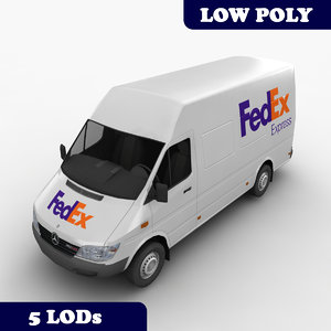 mercedes sprinter fedex lod 3d model