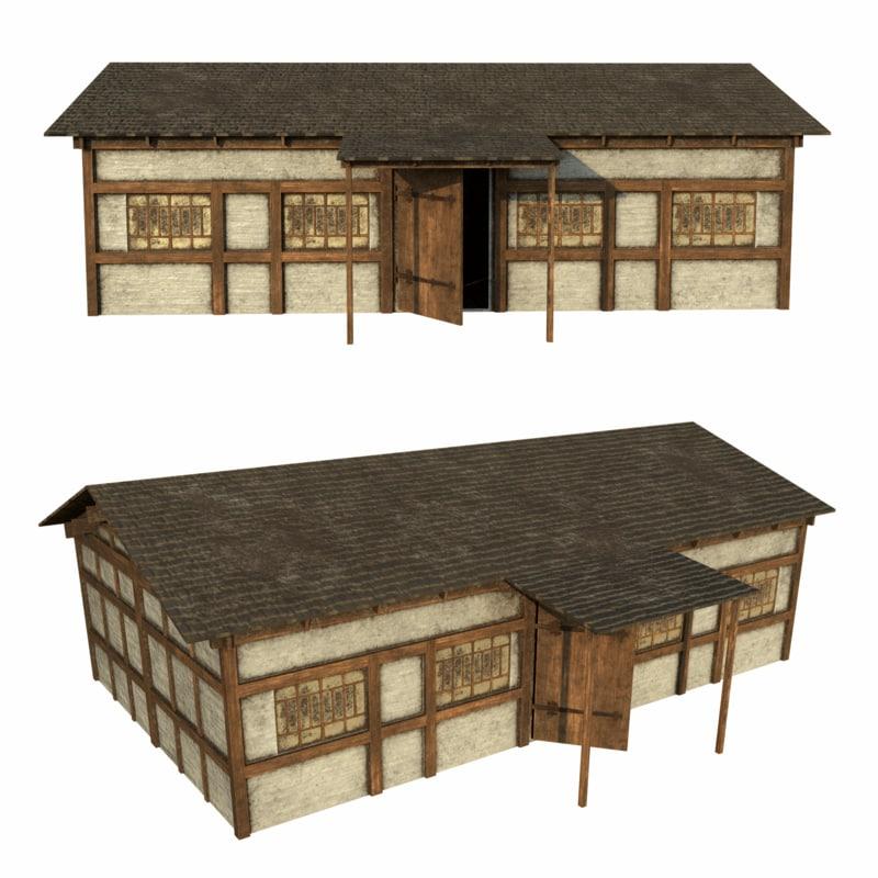 3d model medieval house old