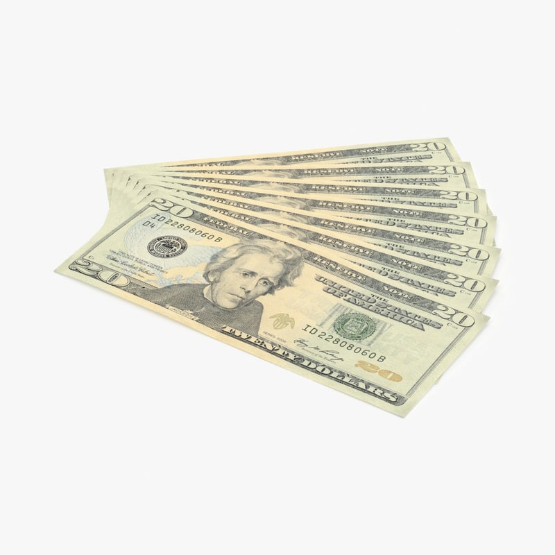 3d model 20 dollar bill fanned