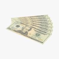 3d model 20 dollar bill fanned