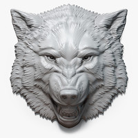 Angry Wolf Face Relief Sculpture