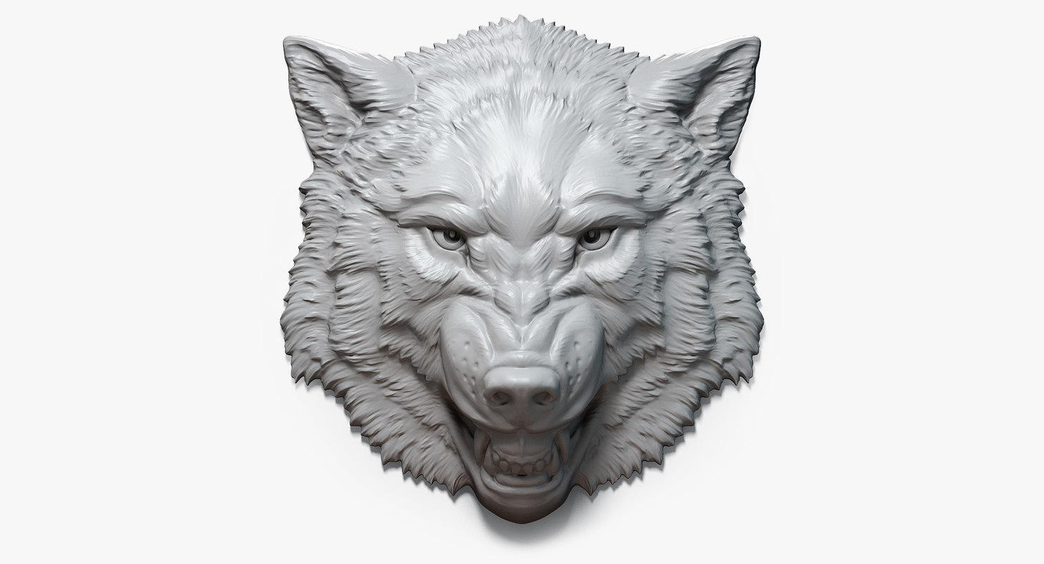 angry roaring wolf head 3d max