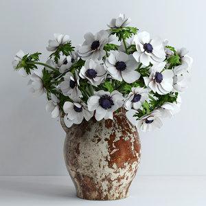 3d model white flowers plants
