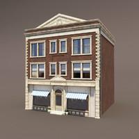 3d building exterior modeled