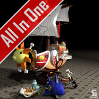 Thousand Sunny+White Wooden Horse 1+Mini Merry 2+Shark Submerge 3(All In One)