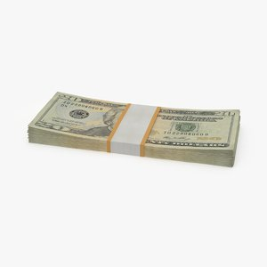 20 dollar bill pack 3d model