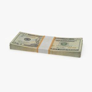 20 dollar bill pack 3d model