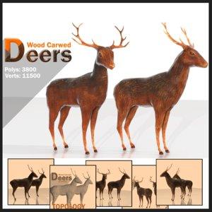 wood deers 3ds