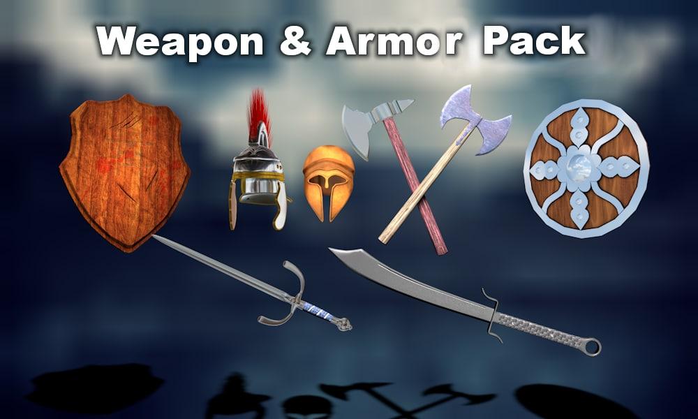 3d weapon armor swords shields