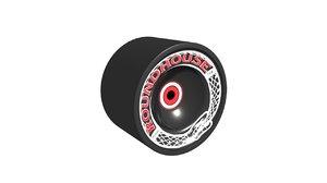roundhouse skatewheel 3d obj