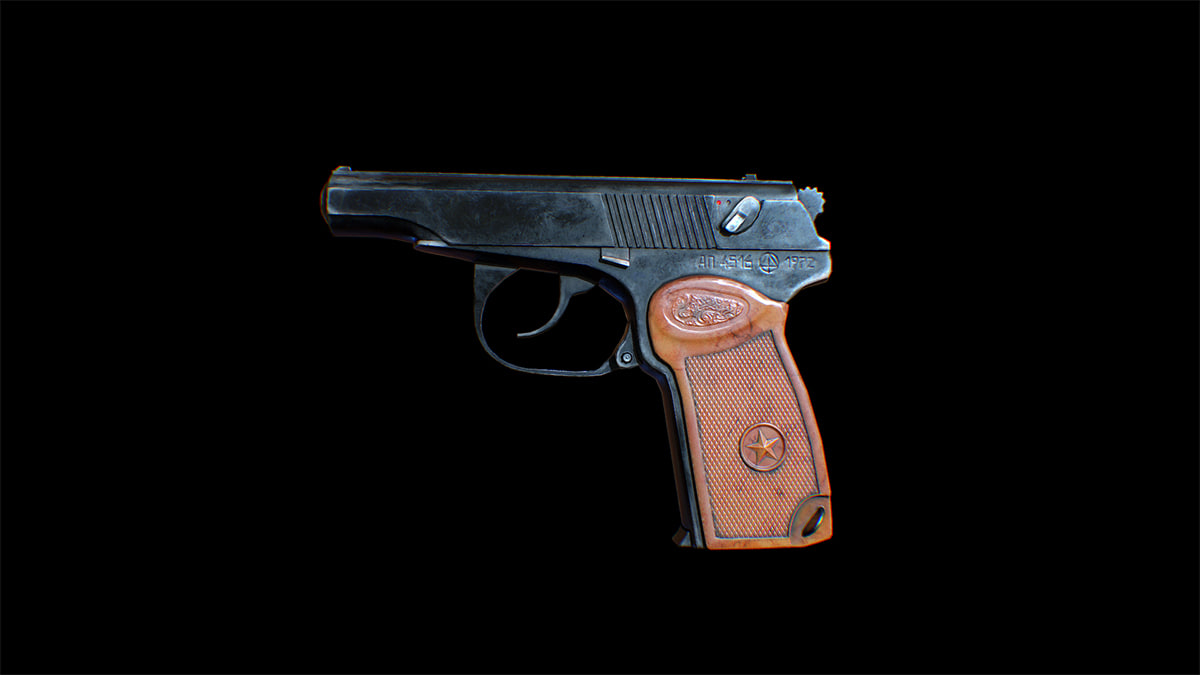 pistol makarov weapons 3d model