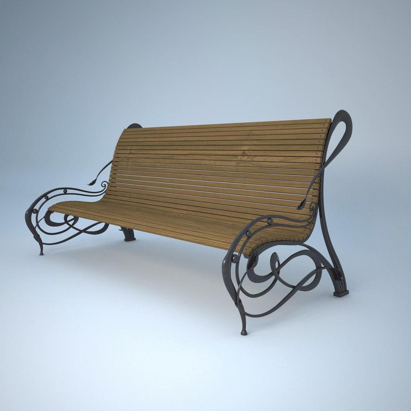 bench landscape 3d model