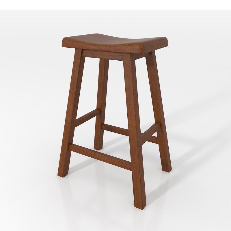 3d model bar stool walnut