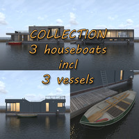 3d modern houseboats vessels