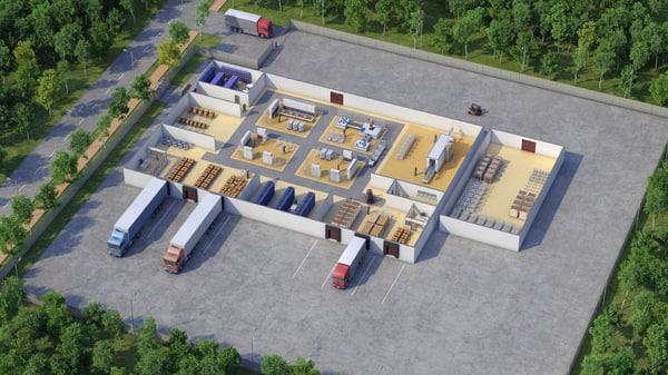 warehouse exterior interior scene max