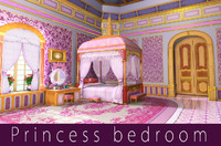 3d model cartoon princess bedroom scene