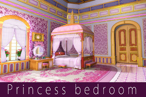 3d model cartoon princess bedroom scene