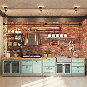 kitchen modern industrial obj