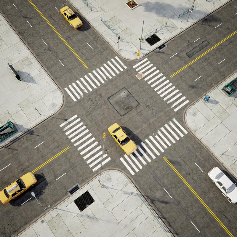 streets sidewalks 3d 3ds